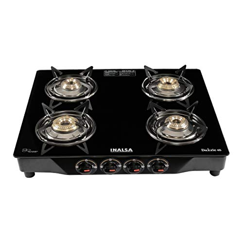 Inalsa Dazzle Glass Top, 4 Burner Gas Stove with Rust Proof Powder Coated Body, Black