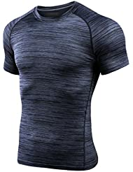 BRG315 Fast Dry Sports T-Shirt Hommes Tight Fitness Vêtements High Elastic Absorbing Exhaust Sweat Round Shirt Short Sleeve Top