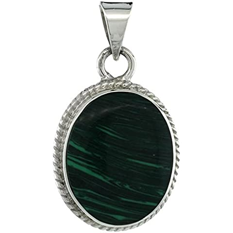 Revoni-Collana in argento Sterling con Malachite verde di forma ovale, con bordino tipo corda, 1 3/8 (in. 35