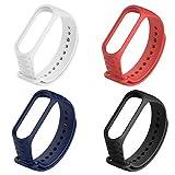 Bandwave Mi Band 3 Armband, Textured Silikon Ersatz Strap Wristband für Xiaomi Mi Band 3 Smartwatch Handgelenk Armband, 4 STK Mehrfarben