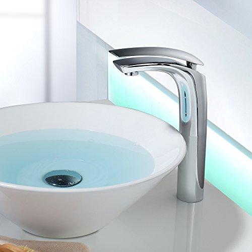 Homelody - Design-Waschtischarmatur, Einhebelarmatur, ohne Ablaufgarnitur, hoher Auslauf, Chrom