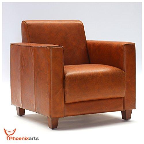 Phoenixarts en Cuir véritable Design Fauteuil Fauteuil en Cuir Marron Vintage Lounge Club Fauteuil rétro Loft 541