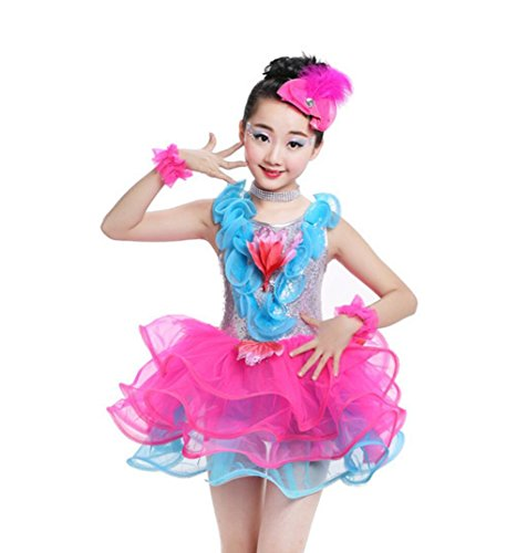Tanz Den Freestyle Wettbewerb Kostüm Für - Kinderkostüme Tutu Rock Show Kostüme Kinder Tanzkostüm Spiele, 100cm, Rose red
