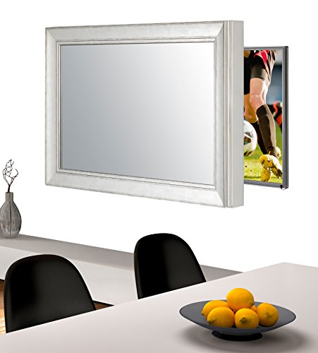 Handmade Framed Mirror to Turn Your Existing TV to Hidden Mirrored Television that Blends into Your Home or Business Decor (49 Inch, NY Silver Black)