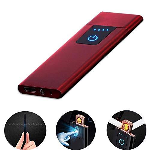 LayOPO - Mechero Recargable USB con Huella Dactilar, 0,15 Pulgadas, Ultrafino, portátil, eléctrico, Resistente al Viento, Encendedor de Plasma sin Llama para Cigarrillos, Velas, Leuchtend Rot