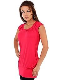KRISP - T-shirt - Uni - Col V - Manches Courtes - Femme noir noir -  rouge - 54