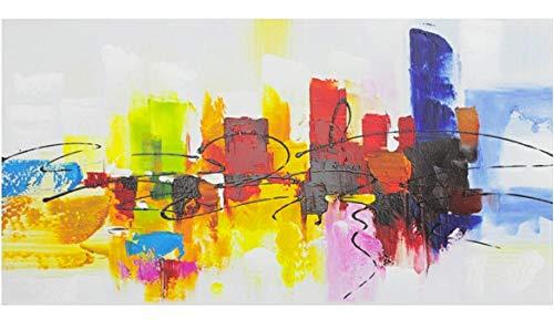Fokenzary - Pintura abstracta sobre lienzo, pintada a mano, colorida, con marco, lista para colgar, color rojo, verde, marrón y azul, lona, 16x32in
