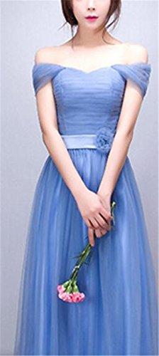 SHUNLIU Damen Langes Cocktailkleid Elegant Schlank Ballkleid V-Ausschnitten Schulterfrei Kurzarm Abendkleid Partykleid Prinzessinskleid Gr.S-2XL Blau
