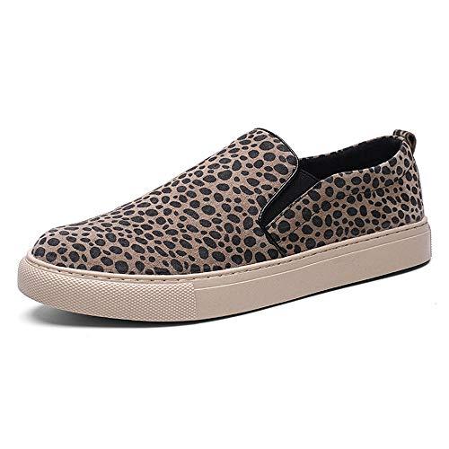 Casual Suede Shoe Sneakers für Herren Slip On Canvas Lässige Loafer Klassische Skate Schuhe Niedrige Flache Wanderschuhe Herren Sneaker (Color : Beige, Größe : 39 EU) -