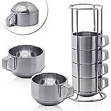 tumundo 6 Stück Edelstahl Tee Kaffee-Tassen Stapeltassen Becher Camping-Geschirr Büro Picknick Doppelwandig Halter Set