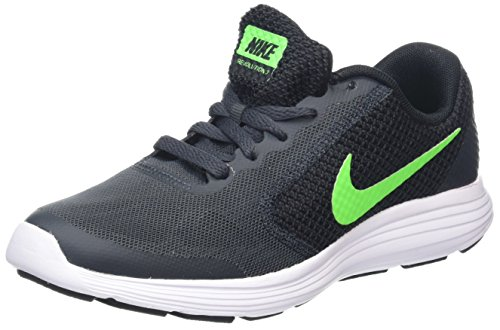 Nike Jungen Revolution 3 (GS) Laufschuhe, Grau (Anthracite/Green Strike-Black-White), 38.5 EU