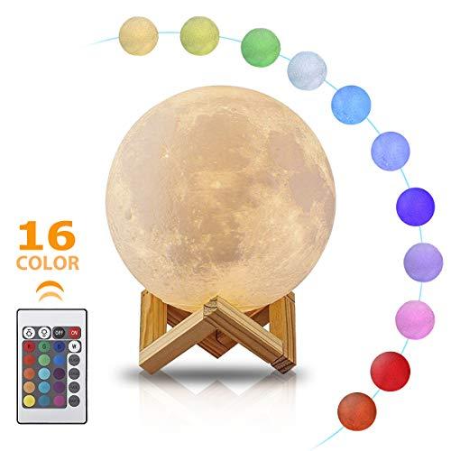 LED Mond Lampe, GREEMPIRE 16 Mondlicht Lampe Farbwechsel Modus Nachtlampe Stimmungslicht Tischleuchte mit Fernbedienung Control Geschenke für Kinderzimmer Schlafzimmer Wohnzimmer Weihnachten