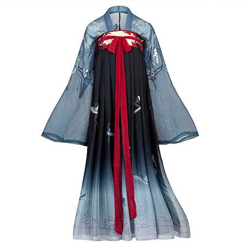 Traditionelle Kostüm Tanz Chinesische - ASKK Frauen Im Chinesischen Stil Kleidung, Traditionelle Retro Hanfu Langarm Cosplay Performances Kostüm, Tanz Kostüme Kran Vogel Druck,S