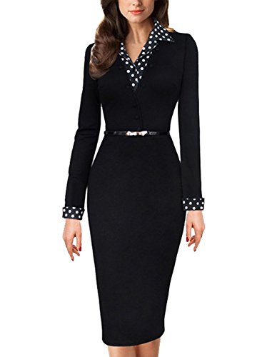 Minetom Women's Black Polka Dot Contrast Long Sleeve Work Cocktail Party Bodycon Pencil Dress With Belt