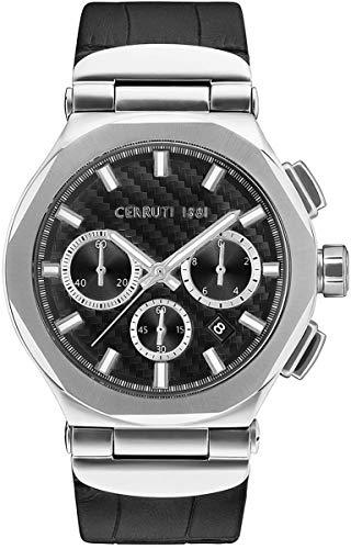 Montre Homme - Cerruti 1881 - Chronographe - Bracelet Cuir - CRWA180SN02BK