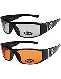 2er Pack Choppers 6608 X04 Sonnenbrillen Motorradbrille Sportbrille Radbrille in den Farben schwarz, anthrazit, silber und weiß