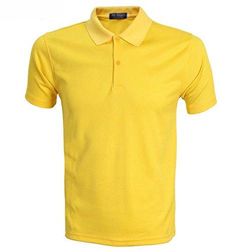 Demarkt Herren Poloshirt Polo T-Shirt Polohemd Kurzarm Polyester Gelb XXXL Gelb x XXXL