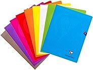 ClaireFontaine 299361AMZC - Un lot de 9 cahiers piqués Mimesys 96 pages 24x32 cm 90g grands Carreaux, couvertu