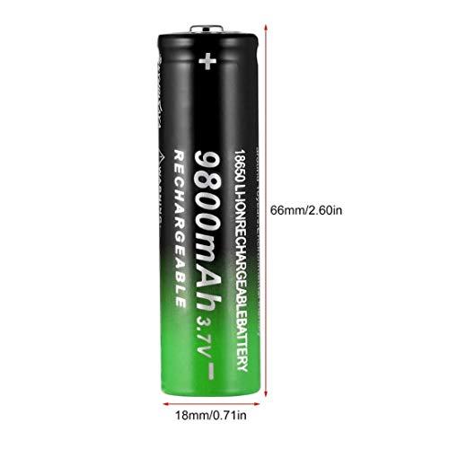 Oupeng 3.7V 18650 9800mAh Batería Recargable de Iones de Litio Linterna Antorcha Negro y Verde (Negro y Verde)