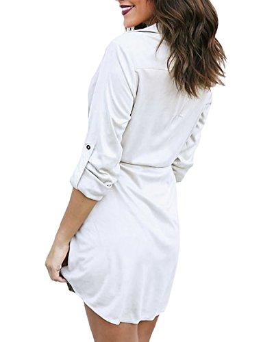 Auxo Damen Bluse V-Ausschnitt Langarmshirt Lose Tops Oversize Longshirts Hemdkleid Beige EU 46/Etikettgröße 2XL