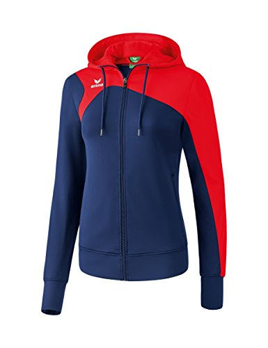 Erima Damen Club 1900 2.0 Trainingsjacke, mit Kapuze, new navy/rot, 34 - Damen Navy Blau Fußball