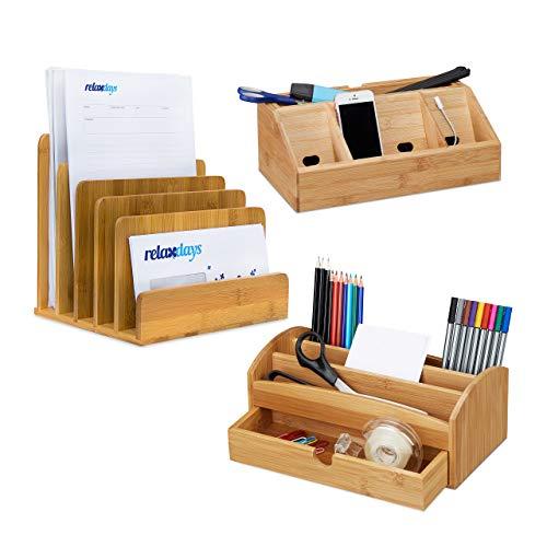 Relaxdays 3 TLG. Schreibtisch Set, Bambus, Aufbewahrungsbox für Stifte, Dokumentenhalter, Schreibtisch-Organizer mit Handyhalter