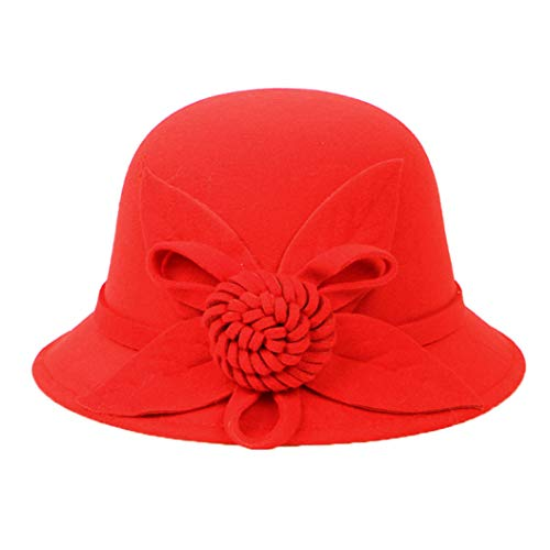 GOUNURE Frauen Woolen Wide Brim Eimer Hut Fedora Hats Damen Vintage Trilby Jazz Cap Cloche Hut mit Blume Bowknot -