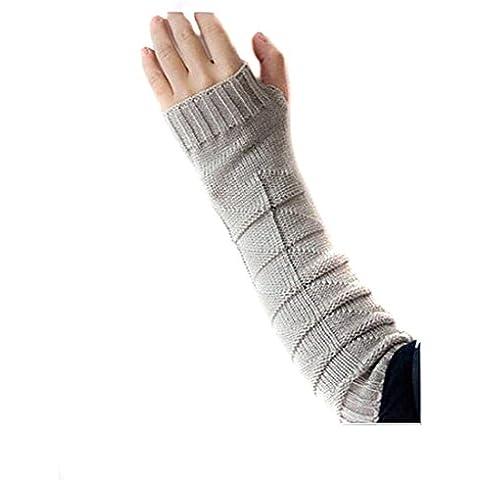 1Coppia (2pezzi) Unisex spessa caldo e morbido cotone elasticizzato senza dita braccio guanti invernali braccio lungo maniche per donna ragazza, Grey