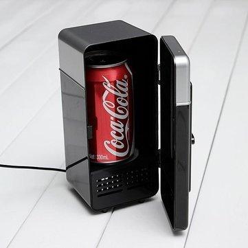 USB LED PC Fridge Refrigerator Drink Cans Food Cooler- Black