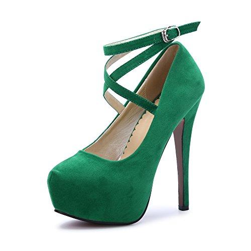 OCHENTA Femme Escarpins Bride Cheville Sexy Talon Aiguille Plateforme Epais Fermeture Lacets Chaussures Club Soiree Vert