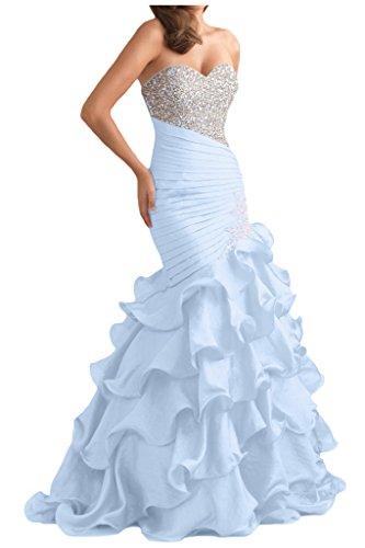 Gorgeous Bride Glamour Herzform Mermaid Organza Kristall Ballkleid Prom Kleid Abendmode Himmelblau
