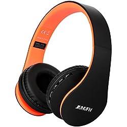 JIUHUFH Casque Bluetooth sans Fil Pliable avec Micro Intégré/Micro SD/TF/FM Radio/Lecteur MP3/Audio 3,5 mm pour iPhone Android Téléphones/Tablettes/TV/PC/Mac - Noir Orange