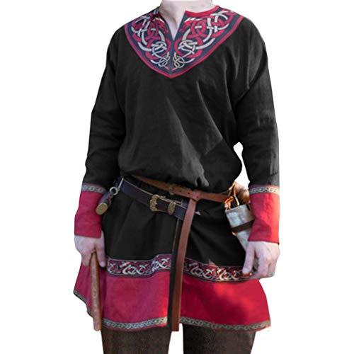Herren Mittelalter Hemd Vintage Drucken Tunika V-Kragen Ethnisch Pirat Shirt für Halloween Cosplay Kostüm Große Größen S-4XL (Ohne (Herren Piraten Kostüm Muster)