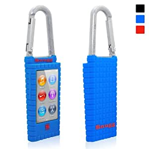 Snugg iPod Nano Blue Case (7th Gen) Quality Silicone Carabina Case - Ultra Protection and Non Slip Material - Clip it to your Jeans, Rucksack, Shoulder bag, bike, climbing gear or anything else and Plug in your Headphones and Listen to your Music!