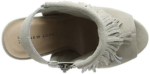 New Look - Scruffy, Scarpe col tacco Donna Grigio (Grey (04/Grey))