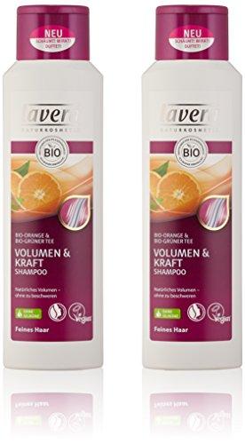 lavera Haar Shampoo Volumen & Kraft ∙ Orange & Grüner Tee ∙ Feine Haare ∙ vegan ✔ Bio Haarshampoo ✔ Natural & innovative Hair Care ✔ Naturkosmetik ∙ Haarpflege 2er Pack (2 x 250 ml)