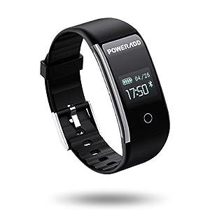 POWERADD Fitness Armband wasserdicht IP67 Smart Armband Bluetooth Smartwatch, pulsuhr, Aktivität Tracker, Schrittzähler, Vibrationsalarm, Anruf, SMS, Whatsapp Beachten für iPhone Android Handy