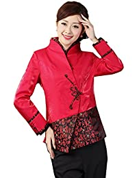 JTC Women Satin Chinese Calligraphy Long Sleeve Cheongsam Slim Tang Suit Tops Outwear Coat Red
