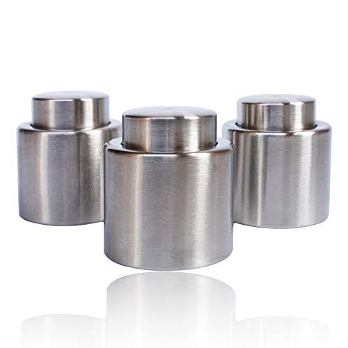 Youda Sektflaschenverschluss, Premium Edelstahl Sektverschluss Flaschenverschluss, Silber (3 Stück)