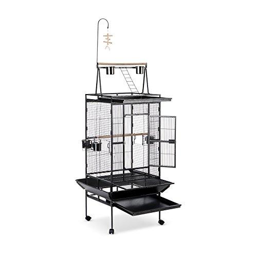 iKayaa Vogelkäfig Vogelvoliere Papageienkäfig Voliere Käfig aus Eisen mit Schüssel & Abschließbare Räder