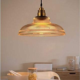 CEILINGLIGHTLEDLHde YWXLight Moderne Hängelampe Glas Stripe Pot LED Pendelleuchte mit E27 Edison-Birne (Farbe : Amber)