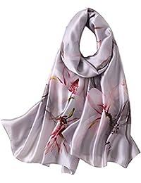 LD Foulard Femme Soie Polyester Écharpe Tissu Satiné Doux Art à la Mode  Etole Châle dfbbaa74486