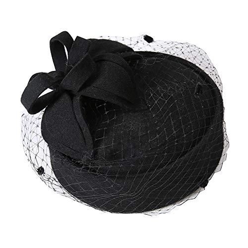 ndgemachte Blume Dekoration Mystery Mesh Hat Top 100% Wolle Warm Warm Elegant Britischen Stil Geeignet FüR Party Hochzeit BüHne,Black,OneSize ()