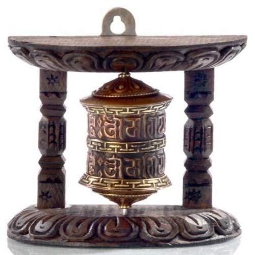 BUDDHAFIGUREN/Billy Held Wand Gebetsmühle, Kupfer/Holz, 10cm hoch
