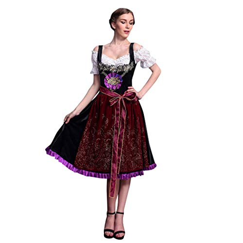 Trachtenkleid Damen, MNRIUOCII Oktoberfest Mode Frauen Dirndl Bluse Mit GüRtel DirndlschüRze Bierfest Cosplay KostüM Kellnerin Kleid Langes Kleid