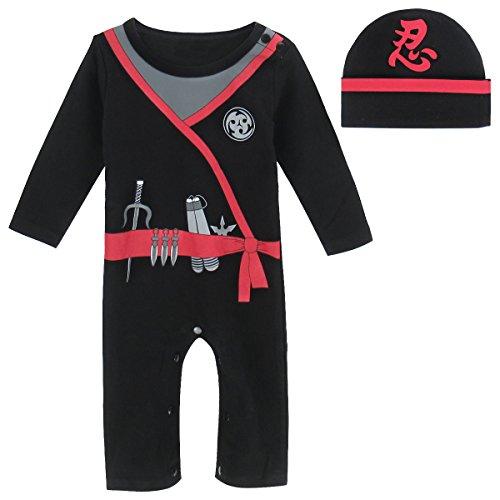 Mombebe Baby Jungen Ninja Kostüm Strampler mit Hut (Ninja, 12-18 Monate)