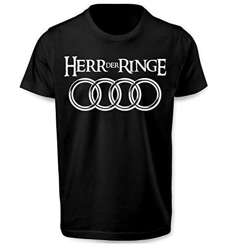 Lulchev Design - Der Herr Der Ringe - Logo Schwarz T Shirt Und Weiss Tshirt Parodie Geschenke Geburtstag - Geschenk für männer lustig Herren Tshirt Prime Quality Kurzarm (Schwarz, 2XL)