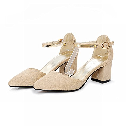 Mee Shoes Damen chunky heels ankle strap Schnalle Pumps Beige F3W3ToYiSE