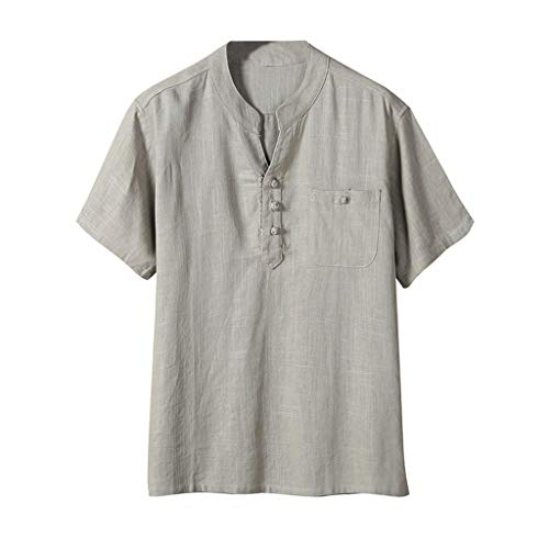 Ginli Camicie Cotone E Lino Maglietta Tinta Unita V-Collo T-Shirt Slim Fit Cotone Maglietta Uomo Maglia da Uomo A Manica Corta in Morbido Cotone Estate Casual Top