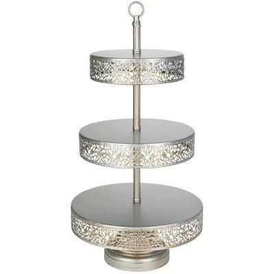 3-tier-dessert-stand (Platinum Home Designs Victoria Collection 3 Tier Dessert Stand with Reversible Tiers, 22 Inch - Silver by Platinum Home Designs)